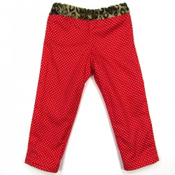Doublure coton rouge vermillon à pois blanc pantalon bébé fille LYDIA