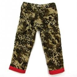Pantalon léopard bébé fille avec revers rouge à pois blancs au bas des jambes