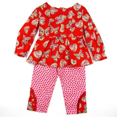 Tunique bébé fille rouge et pantalon rose à pois rouge