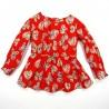 Tunique rouge vif motif papillons à manches longues en coton