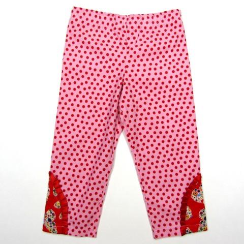 Pantalon bébé fille en velours rose avec points rouges et découpe fantaisie papillon