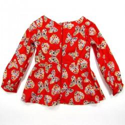 Tunique bébé fille de dos rouge vermillon en coton imprimé de papillon et coeurs fleuris