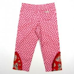 Pantalon bébé fille de dos en velours coton rose et découpe fantaisie au bas des jambes