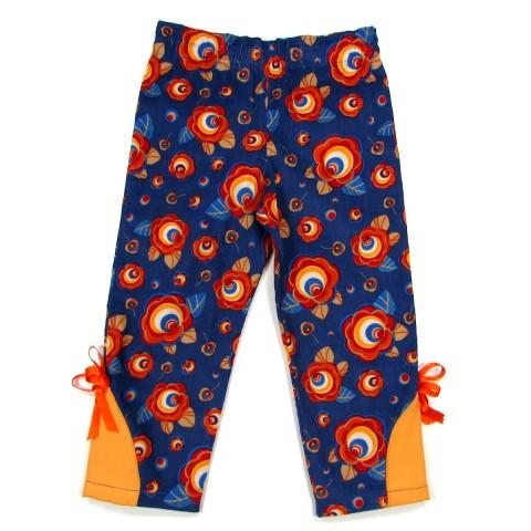 Pantalon bébé fille bleu outremer en velours côtelé avec des motifs de grosses fleurs