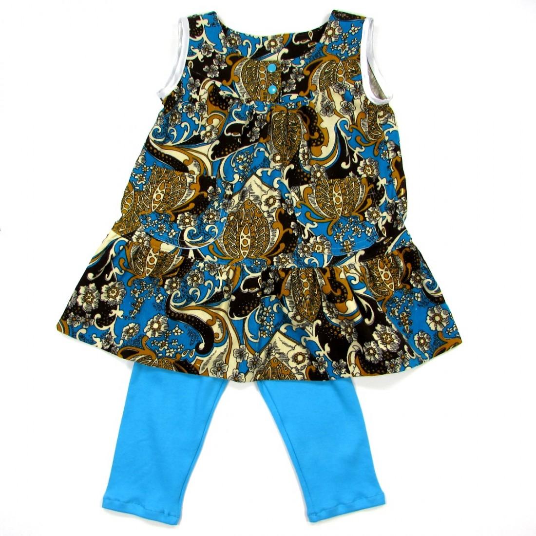 Robe chasuble velours bleu imprimé et legging en jersey turquoise pour bébé fille 2 ans