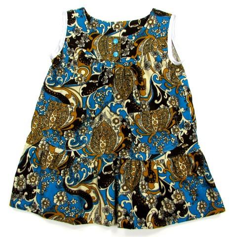 Robe sans manches, bébé fille, velours bleu turquoise imprimé d'arabesques sable et brunes