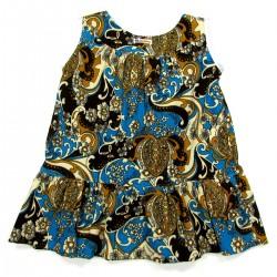 Robe chasuble bébé fille de dos, velours bleu imprimé dessins jaune brun