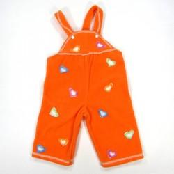 Salopette bébé fille en polaire orange avec coeurs colorés rapiécés
