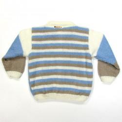 Cardigan bébé garçon de dos en laine rayée bleu ciel blanc et beige pour l'hiver