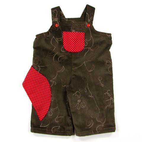 Salopette bébé fille 6 mois en velours chocolat brodé et pan coton rouge écarlate à pois blancs pour accrocher la sucette