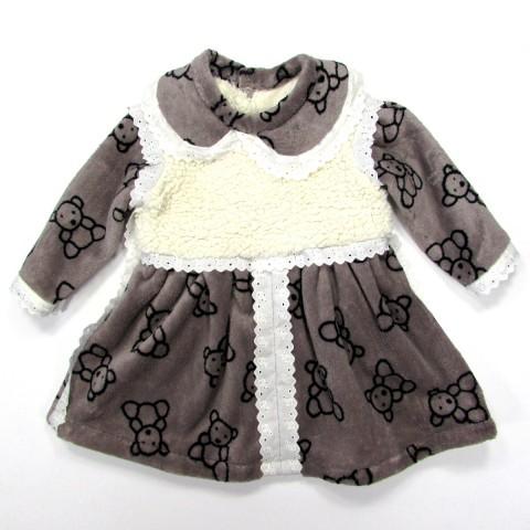 Robe bébé fille 9 mois en peluche chocolat avec oursons noirs et broderie anglaise écrue