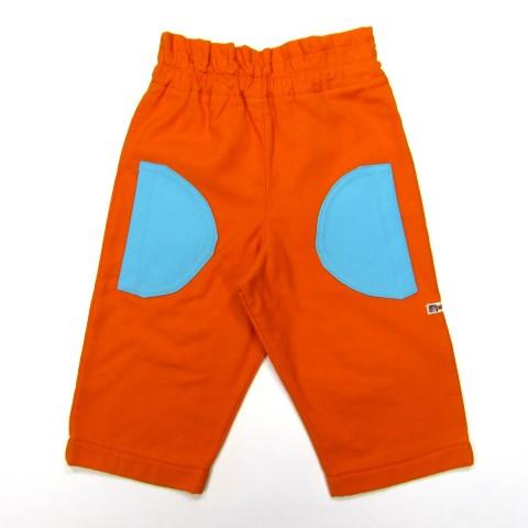 Pantalon unisexe bébé 9 mois en molleton orange et grandes poches demi-cercle bleu turquoise