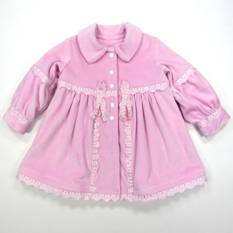 Manteau chic bébé fille 9 mois velours rose bebe reveur handmade