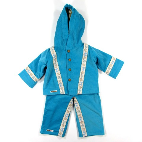 Manteau et pantalon bébé garçon 9 mois en velours côtelé bleu turquoise