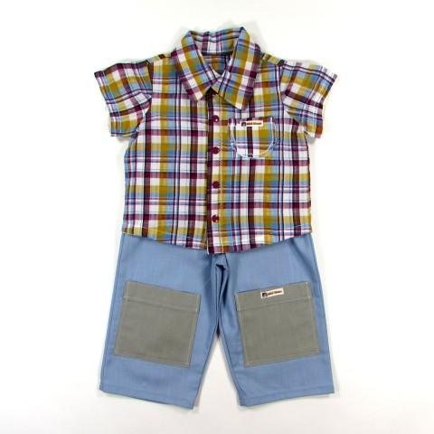 Chemisette seersucker à carreaux et pantalon toile bleu pour bébé garçon au printemps