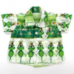 Chemisette coton bébé garçon avec grenouilles vertes et marguerites
