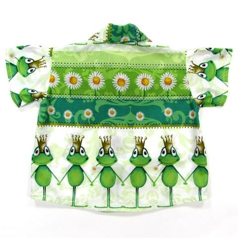 Chemise manches courtes bébé garçon en coton avec grenouilles vertes et marguerites blanches