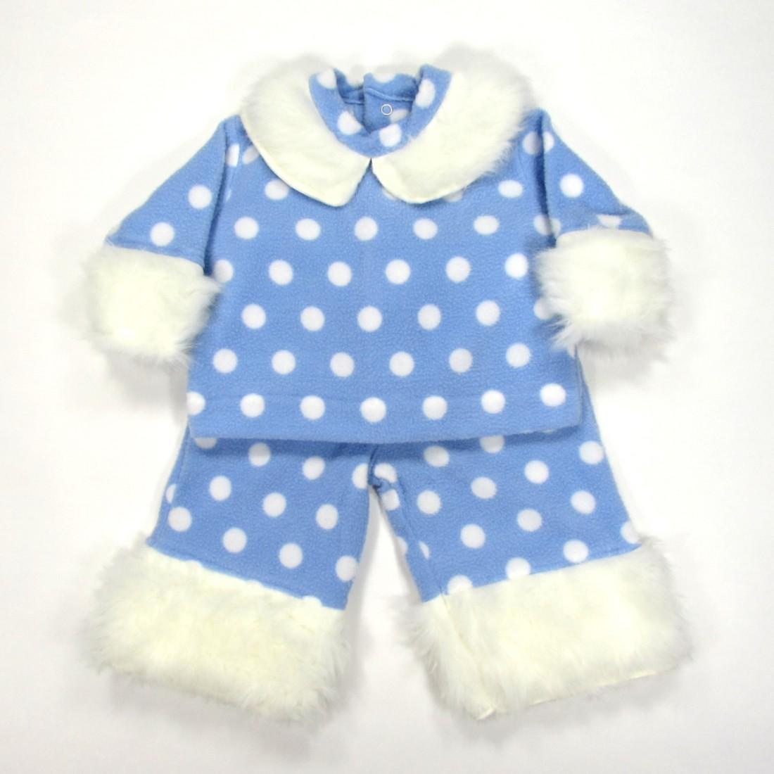 Ensemble hiver bébé garçon en polaire bleu et blanc