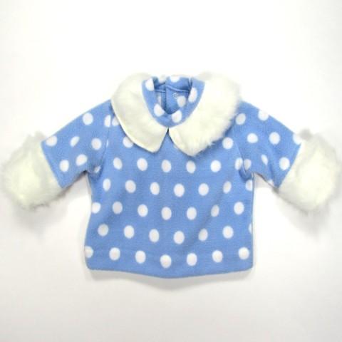 Sweat-shirt polaire bleu ciel et blanc hiver bébé garçon