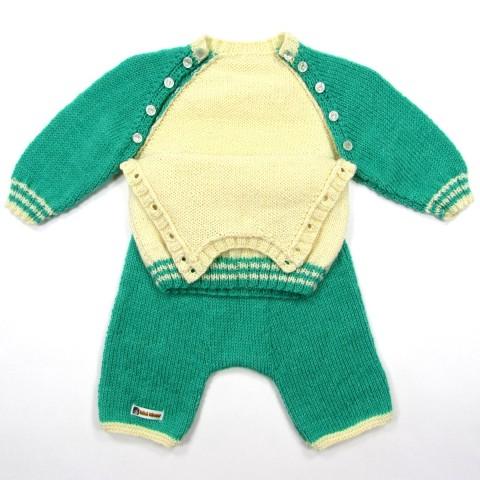 Pull raglan et sarouel en tricot vert et écru pour bébé garçon