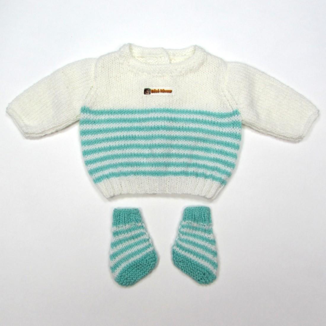Trousseau brassière et chaussons pour bébé garçon prématuré blanc à rayures vertes