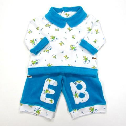 T shirt et pantalon velours bleu bébé garçon