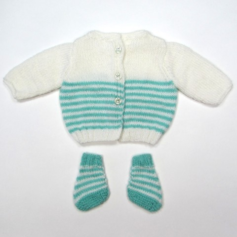 Brassière bébé bicolore et chaussons rayés, boutonnée dos pour les premiers jours