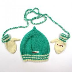 Bonnet et moufles tricot vert émeraude et ivoire bébé garçon 6 mois