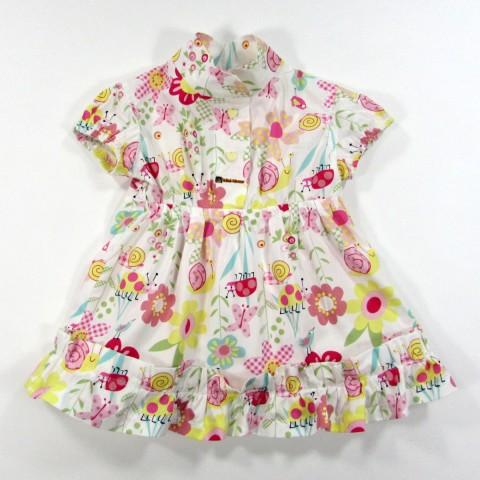 Robe bébé fille 1 an en popeline à motifs fleurs et coccinelle