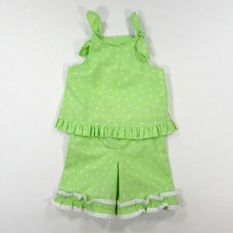 Top à bretelles et short vert anis bébé fille