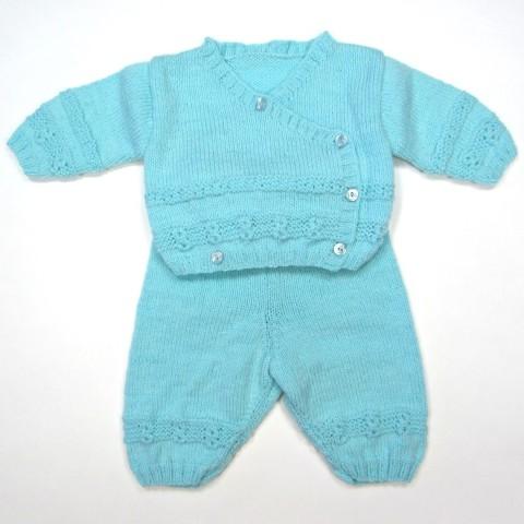 Trousseau de naissance bébé garçon brassière cache-coeur et pantalon
