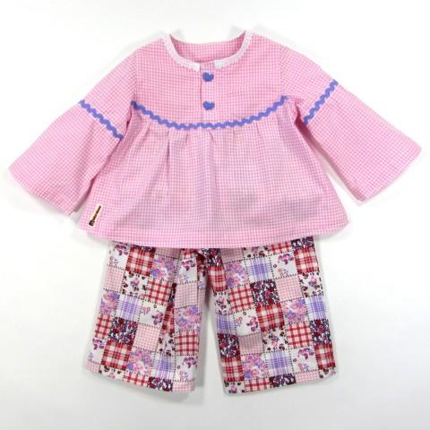 Blouse Vichy rose et pantalon bébé fille 18 mois
