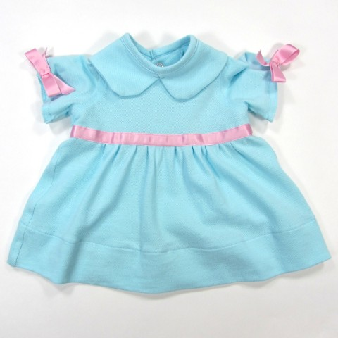 Robe bébé fille 1 mois bleu lagon et noeuds rose