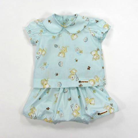 Blouse et bloomer bleu ciel bébé garçon 1 mois