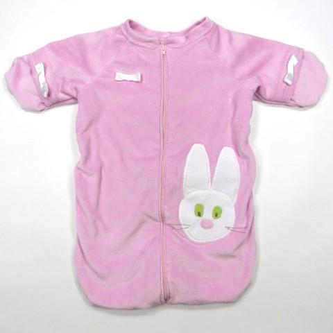 Nid d'ange naissance bébé fille en velours rose doublé polaire modèle unique