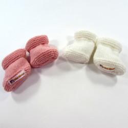 Chaussons blanc + chaussons rose en tricot pour bébé fille naissance