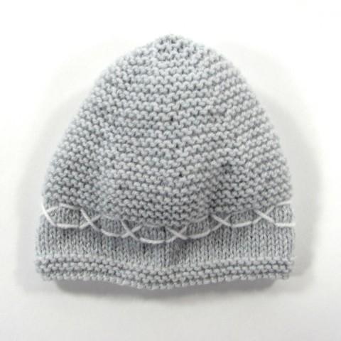 Bonnet laine gris perle pour bébé garçon naissance