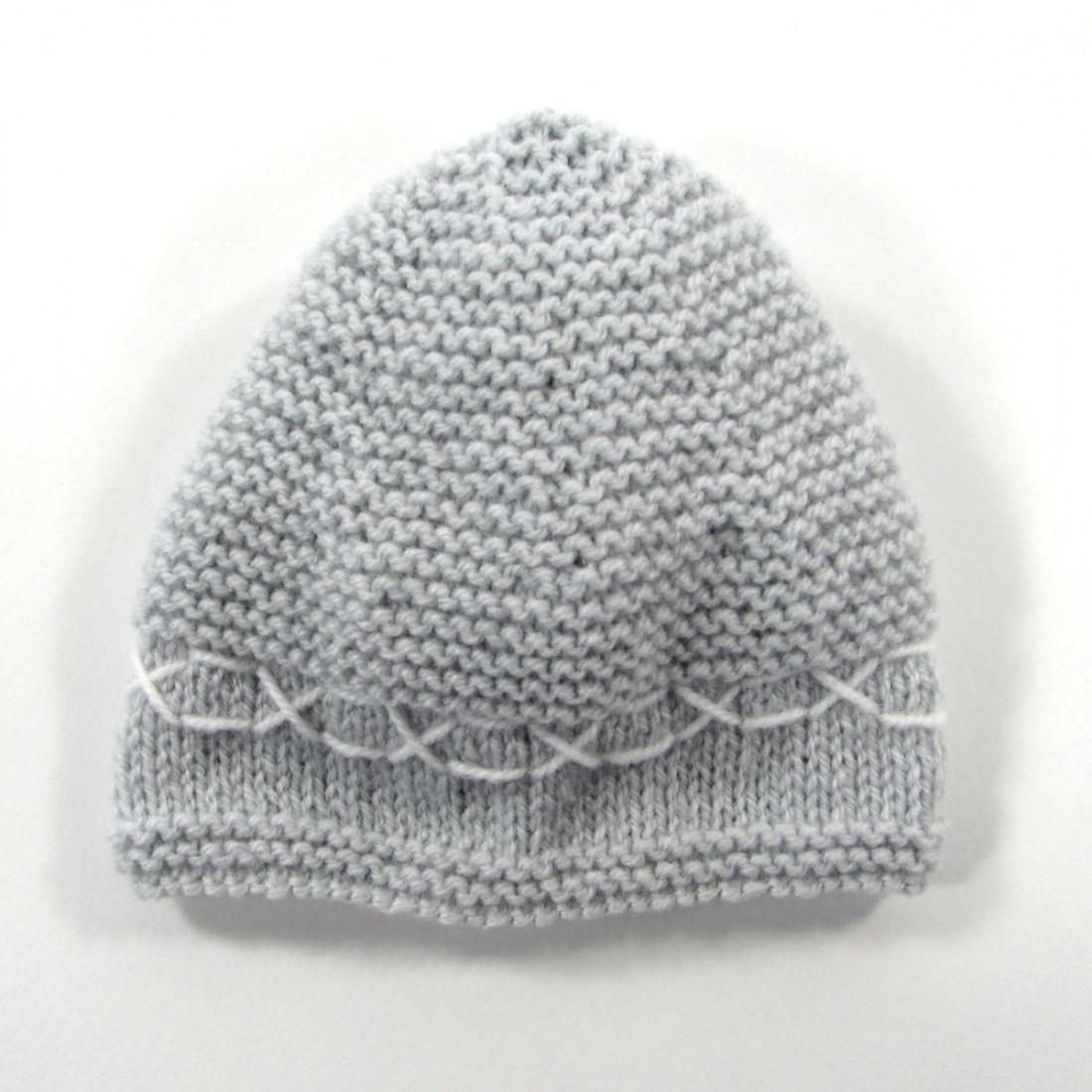 7684036a5ed Bonnet fait main pour bébé garçon prématuré en tricot gris perle