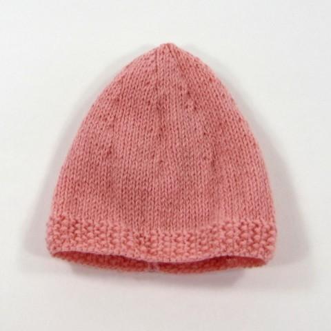Bonnet en laine rose poudré pour bébé fille naissance