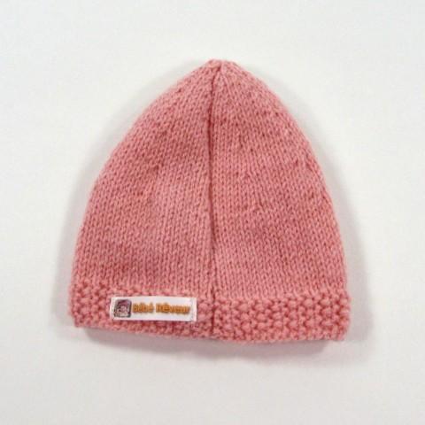 98b47a61141 Bonnet en laine rose poudré pour bébé fille naissance  Bonnet en tricot fait  main pour bébé fille 1 mois couture milieu dos
