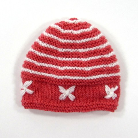 Bonnet de laine rayé rose corail et blanc bébé fille prématurée