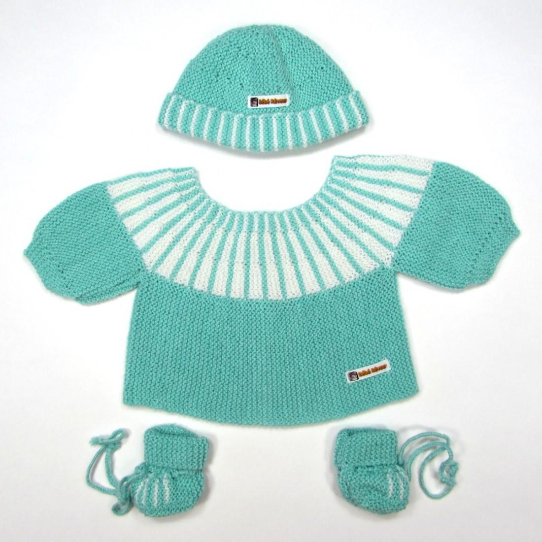 Ensemble tricot layette naissance bébé garçon vert rayé blanc