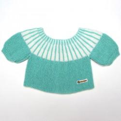 Brassière tricotée en une seule pièce point mousse vert et empiècement rayé blanc