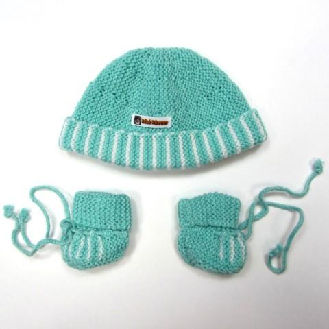 Trousseau layette bonnet et chaussons ROBIN en taille 0 bébé garçon, coloris vert et rayures blanches